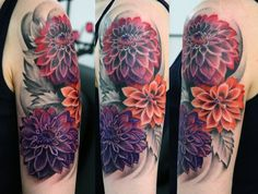 What does dahlia tattoo mean? We have dahlia tattoo ideas, designs, symbolism and we explain the meaning behind the tattoo. Dahlia Flower Tattoos, Marigold Tattoo, Flower Tattoo Designs, Flower Designs, Flower Sleeve Tattoos, Dahlia Flowers, Tattoo Flowers, Flower Ideas, Peony