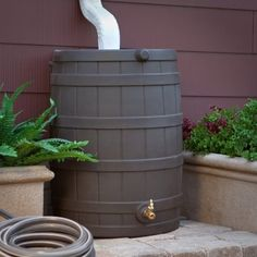 Good Ideas Rain Wizard Resin Flat Back Rain Barrel One on each downspout and water the whole yard. If you use an open Rain Barrel you will get mosquito larvae. No problem: save the lives of some feeder goldfish and they will eat the bugs. Ideas Prácticas, Room Ideas, Craft Ideas, Water Conservation, Water Garden, Backyard Landscaping, Backyard Ideas, Landscaping Ideas, Patio Ideas