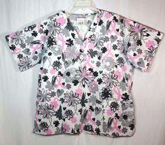 b0e2ce88684 UA Scrub Top Pink Ribbon Womens Size Large Floral Gray Pink Black Nurse  Shirt #UAScrubs