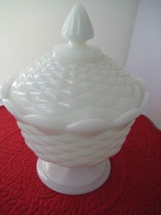 Vintage Beautiful Retro Milk Glass Compote with a lid