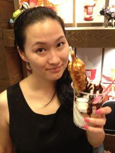 Frozen yogurt, warm belgian waffles, chocolate sauce.  #TforTickets