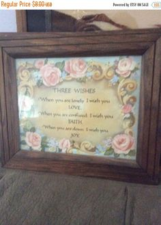 Autumn Sales Vintage wall hanging of the verse 3 wishes by EMTWTT