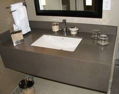 Quarzt Cement grey vanity top with skirt Bathroom Countertops, Concrete Countertops, Granite, Bathroom Vanity Tops, Bathroom Ideas, Gray Vanity, Elegant Kitchens, Sink, Flooring