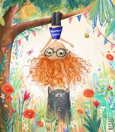 Girl upside down (Lucy Fleming illustration) Art And Illustration, Whimsical Art, Cat Art, Cute Drawings, Painting & Drawing, Art For Kids, Character Design, Artsy, Artwork