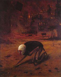 """Crawling Death"", Zdzisław Beksiński, oil on beaverboard, 1973 - Art - Game - Wizards Unite Arte Horror, Horror Art, Macabre Art, Dark Art Drawings, Creepy Art, Dark Fantasy Art, Surreal Art, Art World, Art Inspo"