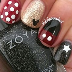 **Possibly this one only red w/white polka dots on all fingers except for the gold glitter w/Mickey accent nail.**