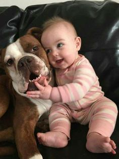 Dogs, through the years, have become our favorite pets; they are adorable. Dogs And Kids, Animals For Kids, Cute Baby Animals, I Love Dogs, Animals And Pets, Funny Animals, Babies With Dogs, Funny Babies, Funny Dogs