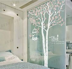 Wall Decals - YYone Tall White Branch Tree Pink Leaves Vinly Removable Wall Decal with Birdcage and Words Tree Wall Decals