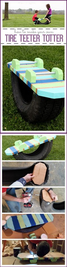 Tire Teeter Totter | DIY Play Areas for Backyard Projects by DIY Ready at http://diyready.com/easy-backyard-projects/