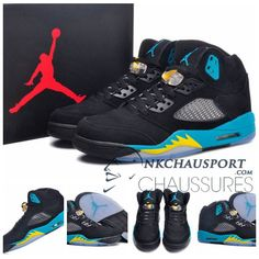 huge discount 02ae0 ee8dd Nike Air Jordan 5   Classique Chaussure De Basket Homme Noir Bleu Air Jordan  13