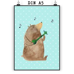 Poster DIN A5 Bär Gitarre aus Papier 160 Gramm  weiß - Das Original von Mr. & Mrs. Panda.  Jedes wunderschöne Poster aus dem Hause Mr. & Mrs. Panda ist mit Liebe handgezeichnet und entworfen. Wir liefern es sicher und schnell im Format DIN A5 zu dir nach Hause. Die Größe ist 148 x 210 mm.    Über unser Motiv Bär Gitarre  Only yoooouuu...    Verwendete Materialien  Es handelt sich um sehr hochwertiges und edles Papier in der Stärke 160 Gramm    Über Mr. & Mrs. Panda  Mr. & Mrs. Panda - das…