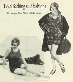The coquettish Alice White all dressed up for a First National bathing beauty parade. If it rains, she's out of luck though. The suit is beach broadcloth with a design of autumn leaves. The bag is a combination suit carrier and pillow. Below is Alice's own favourite Jantzen swimsuit.