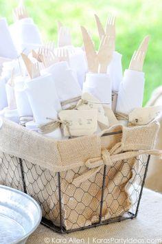 napkins and wooden utencils at a Chalk + Chalkboard and Burlap themed baptism luncheon party via Kara Allen | Kara's Party Ideas | KarasPartyIdeas.com #baptism #ldsbaptism #karaspartyideas_-115