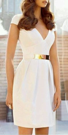 Summer white Halter style dress with gold tone belt
