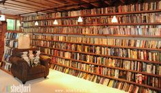 Neil Gaiman's book shelves...oh, I just love this.