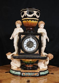 Capodimonte Majolica Clock English Cherub Pottery