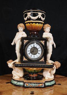 Majolica Clock English Cherub Pottery