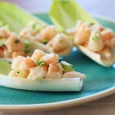 53 Calories-Shrimp Endive Cups