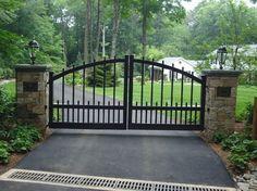 front gate entrance ideas with stone | Front Entry Piers & Gates / Stone Bridges traditional landscape