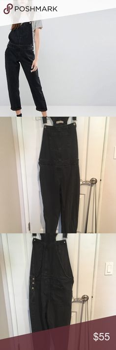 ASOS overalls Black wash overalls in perfect condition only worn a couple times. Ordered them online thinking I should order one size up just in case but ended up being a little big so I believe they are true to size. UK size 18 US size 14 This denim does not stretch but very comfortable  Waist is 36 inches Hip is 45.5 inches Make an offer! ASOS Jeans Overalls
