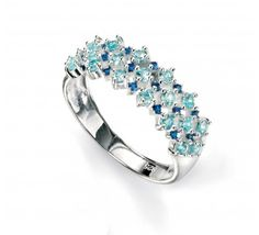 #London #Jewellery Company presents this  #Sterling #Silver Blue Spinel And #Cubic #Zirconia Cluster #Ring