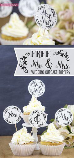 Ideas Diy Wedding Cupcakes Ideas Fun For 2019 Diy Wedding Cupcakes, Wedding Cupcake Toppers, Birthday Cupcakes, Mr And Mrs Wedding, Free Wedding, Chic Wedding, Gold Wedding, Wedding Hair, Wedding Dress