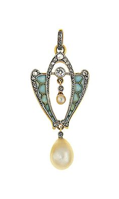 An Art Nouveau pearl, diamond and enamel pendant -  The rose-cut diamond stylised openwork plaque with pale blue plique-a-jour enamel side panels and pearl and diamond swing centre, suspending a pear-shaped pearl drop with rose-cut diamond single-stone surmount and diamond-set pendant loop, circa 1900.