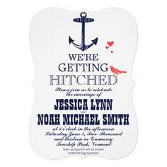 Nautical Coral and Navy Anchor Love Bird Wedding Cards