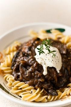 """Mushroom Bourguignon - Veganize it with veggie stock, omit butter and either use more oil or earth balance, and use vegan sour """"cream""""!"""