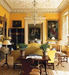 """""""In the tradition of Nancy Lancaster's drawing room at Avery Row Jasper Conran painted his drawing room at Ven House a bright sunflower yellow. Photo by Tim Beddow for The World of Interiors, October, Classic Interior, Home Interior, Interior And Exterior, Interior Decorating, Interior Design, Yellow Interior, Decorating Ideas, World Of Interiors, French Interiors"""