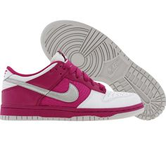 Nike Womens Dunk Low (white / metallic silver / rave pink) 317813-104 - $64.99