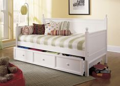 Fashionable White Wooden Bed Frames With Pull Out Bed For Twin Size And Striped Covers Sets With Classy Daybeds Designs For Inspiring Midcentury Furnishing Ideas