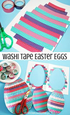washi tape easter eggs / wielkanocne jaja wyklejane taśmą washi - praca plastyczna dla dzieci arts and crafts for kids at home carterie, pergamano et tableaux - Page 2 Easter Art, Easter Crafts For Kids, Toddler Crafts, Preschool Crafts, Diy For Kids, Easter Eggs, Easter Table, Easter Activities, Activities For Kids