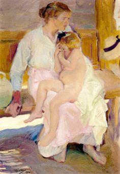 Joaquín Sorolla y Bastida.Mother and Daughter, Valencia, 1916. Oil on Canvas. 39 x 28 in (100 x 70cm)