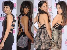 At the recently held Vogue Beauty Awards, spotted were our gorgeous celebrities in some stunning outfits with strappy backs. While Mandira Bedi kept it simple with a short black bandage dress, other actresses like Ileana D'Cruz and Nargis Fakhri looked hot in similar looking Cavalli gowns at the event!  So if you want to show off, we suggest you experiment with this latest trend in fashion. Don't forget to tie your hair up to form a bun & leave a few strands hanging out loose for a messy…