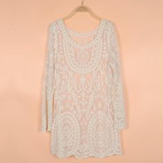 L IVORY HIPPIE FESTIVAL SEXY SHEER LACE TUNIC BLOUSE TOP MINI DRESS BLOGGERS FAV
