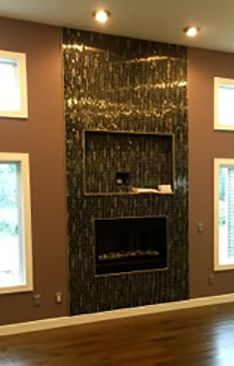 """Fireplace / Wall Decor Tile: Eden Mosaic Tile Black Stainless With Black Wave Glass Mosaic Tile - EMT_W1302-MIX-SM - """"We purchased your Black Stainless Steel with Glass Wave for our great room fireplace.  To say it is a conversation piece would be an understatement.  It is stunning."""" Testimonial by Kim T."""