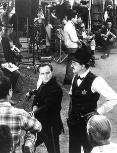 """ Marlon Brando and Karl Malden filming One-Eyed Jacks, 1961. """