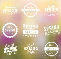 9 spring WordArt vector
