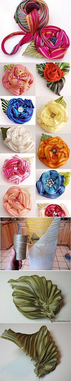 Цветы-броши из лент в технике Шибори / Болталка / Интересные идеи для вдохновения