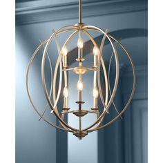 "Brushed Nickel Spherical 24"" Wide 6-Light Pendant Light - #T6704 | Lamps Plus"