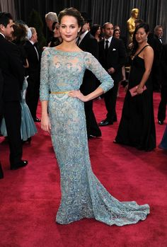 Alicia Vikander wears a blue beaded Elie Saab Couture dress