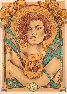 Graphic Design Illustration, Digital Illustration, Tarot, Art Nouveau, Zodiac Characters, Zodiac Art, Zodiac Signs, Lion Art, Paper Artwork