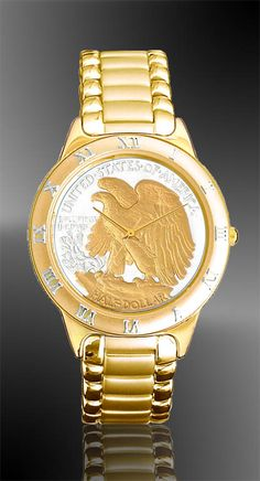 Walking Eagle Half Dollar Mens Bracelet Coin Watch R331-WE2-3  24KT Gold and pure silver on real silver half dollar coin dial.