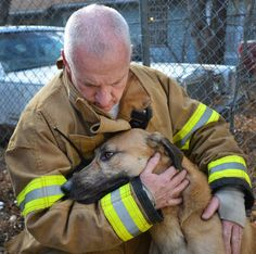 A Fort Worth, TX, firefighter comforts a dog after they revived it using CPR and oxygen    http://www.firehouse.com/news/10848524