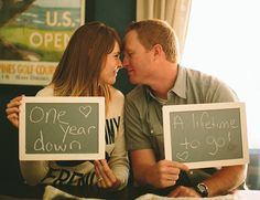super cute anniversary photos with chalkboard signs // could be used for an engagement session as well