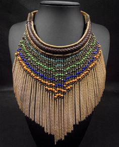 Power mix colour bohemian necklace ethnic tassel collar