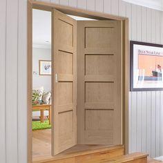 Bespoke Thrufold Shaker Oak 4P Folding 2+0 Door - Prefinished - Lifestyle Image