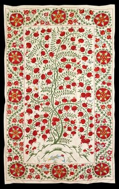 UZBEK SILK HAND-EMBROIDERY SUZANI WITH FISH & TREE OF LIFE