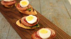 Mario Batali's Italian Bacon & Egg Bruschetta
